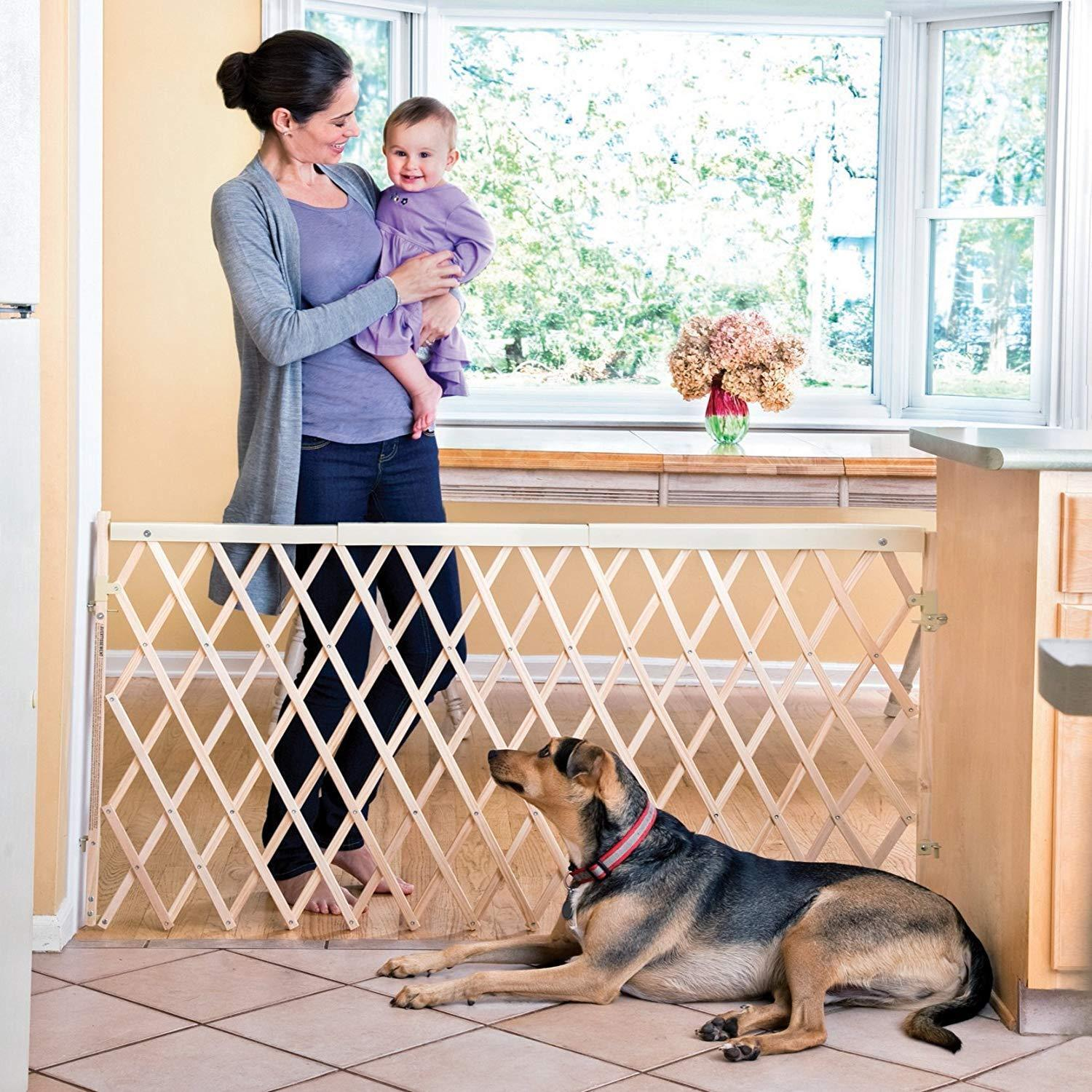 Dog Gate Retractable Extra Wide Swing Expansion Baby Evenflo