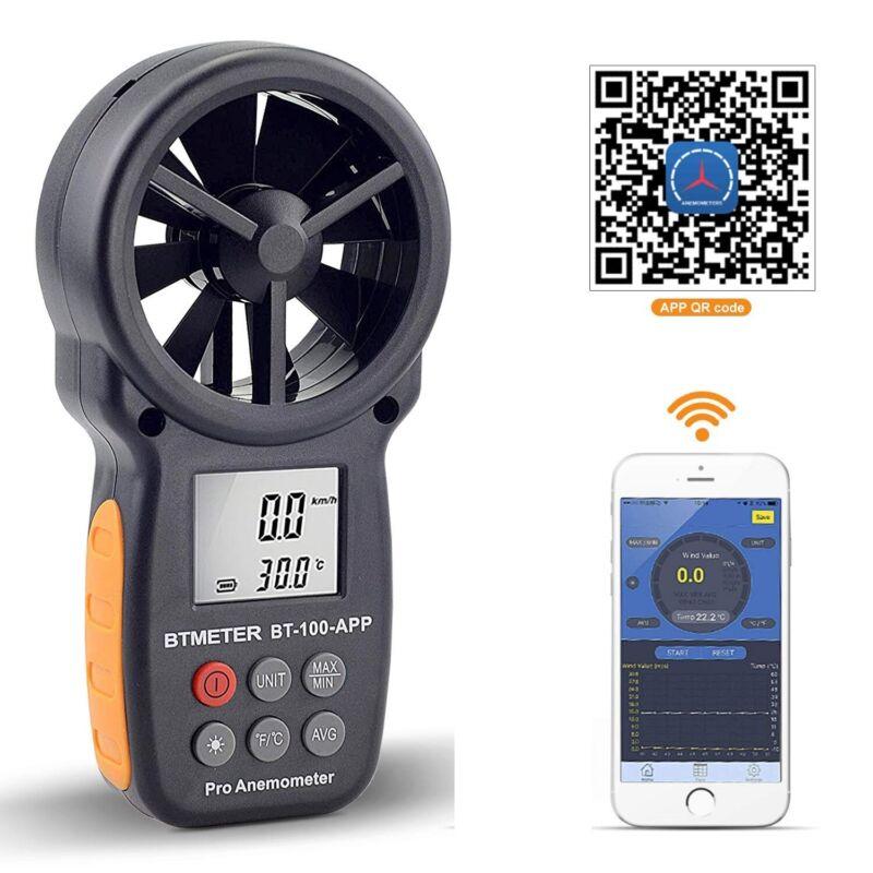 BTMETER Digital Wind Speed Meter Anemometer Air Flow Wind Guage Humidity Tester