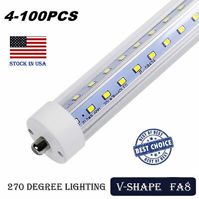 LED Tube Light 8FT 65W T8 T10 T12 Single Pin FA8 Base Double Side V Shaped LED
