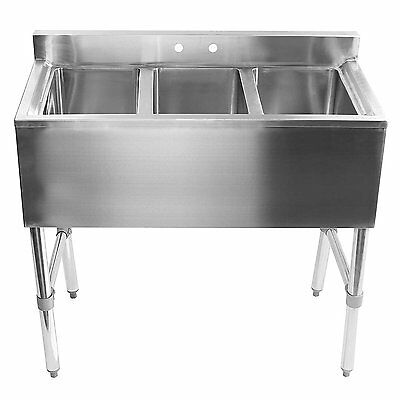3 Bay Sink NSF Stainless Steel Commercial Underbar Adjustable Industrial