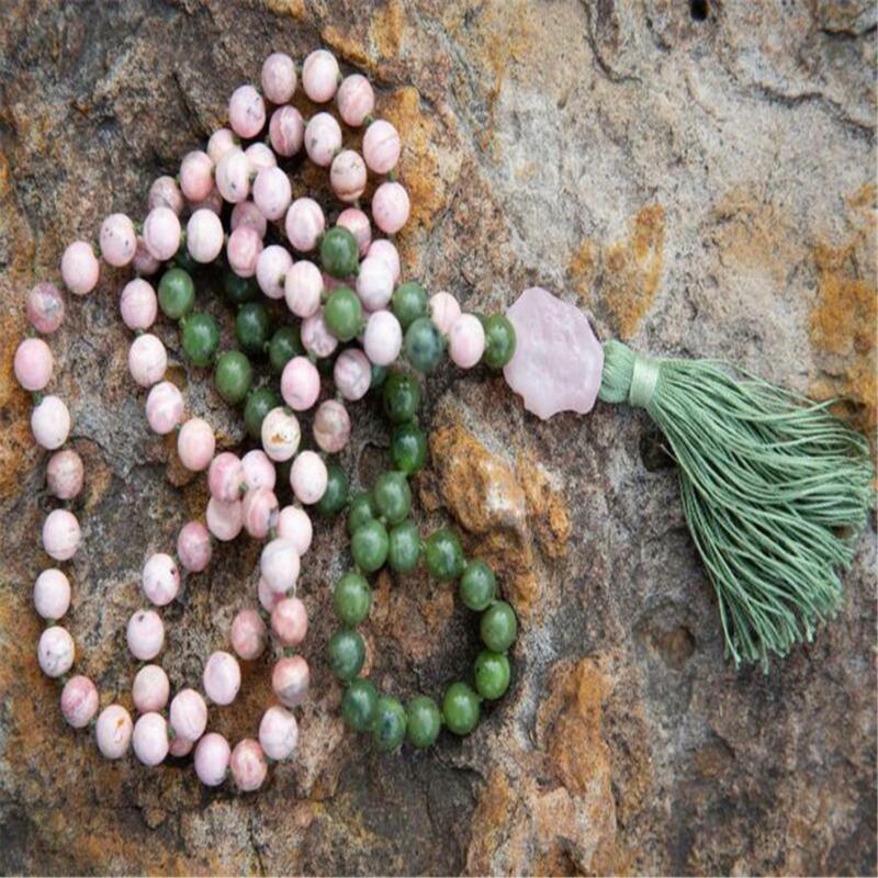 8mm Rose Quartz 108 Beads Handmade Tassel Necklace Yoga Tibetan Religious Mala
