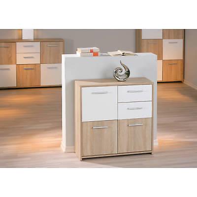 Commode buffet bahut petit meuble de rangement 3 portes 2 tiroirs CHÊNE BLANC