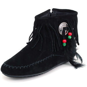 Womens Fringe Moccasins Flat Shoes Zipper Ankle Boots Faux Suede Feather Dangle