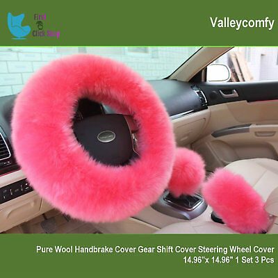 (Steering Wheel Cover Set Cute Pink Fluffy Fur Bling Wool Car & Accessories Women)