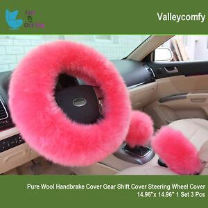 Steering Wheel Cover Set Cute Pink Fluffy Fur Bling Wool Car & Accessories Women