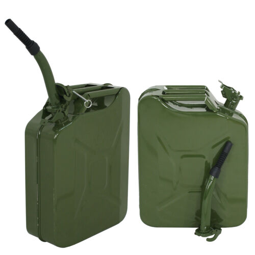 New 20L 5Gallon Military Style Jerry Green Can Fuel Tank Storage Steel 2pcs Business & Industrial