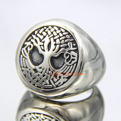 Men's Silver Babylon Tree of Life Ring 316L Stainless Steel Mother Nature Band