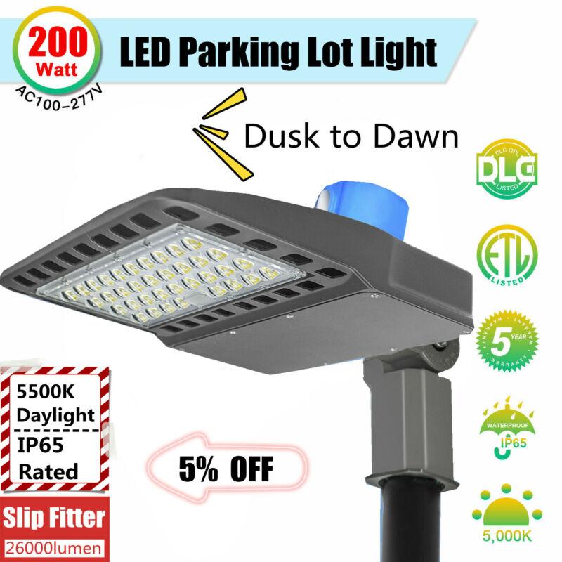 200W LED Parking Lot Light 130LM/W Outdoor Street Pole Shoebox Area Light 5500K