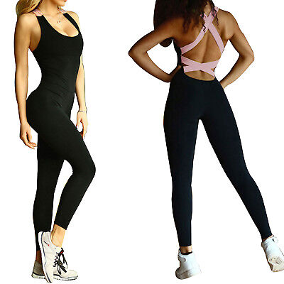 Womens Sports Yoga Running Fitness Workout Jumpsuit Bodysuits Athletic Clothes