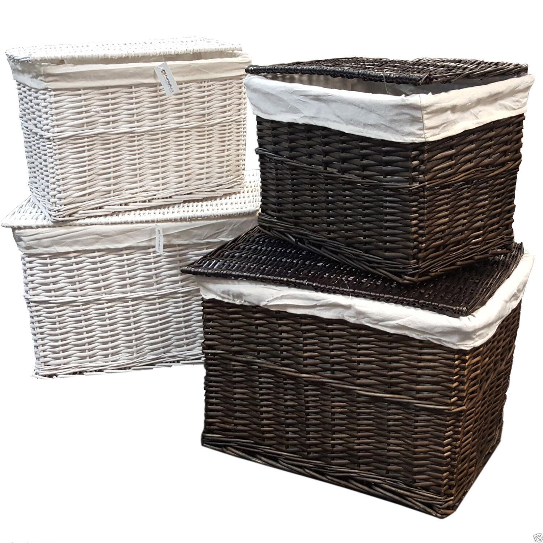 Soft Rush Lidded Rectangular Lined Storage Basket: LARGE MEDIUM WICKER STORAGE TRUNK LID CHEST HAMPER BASKET