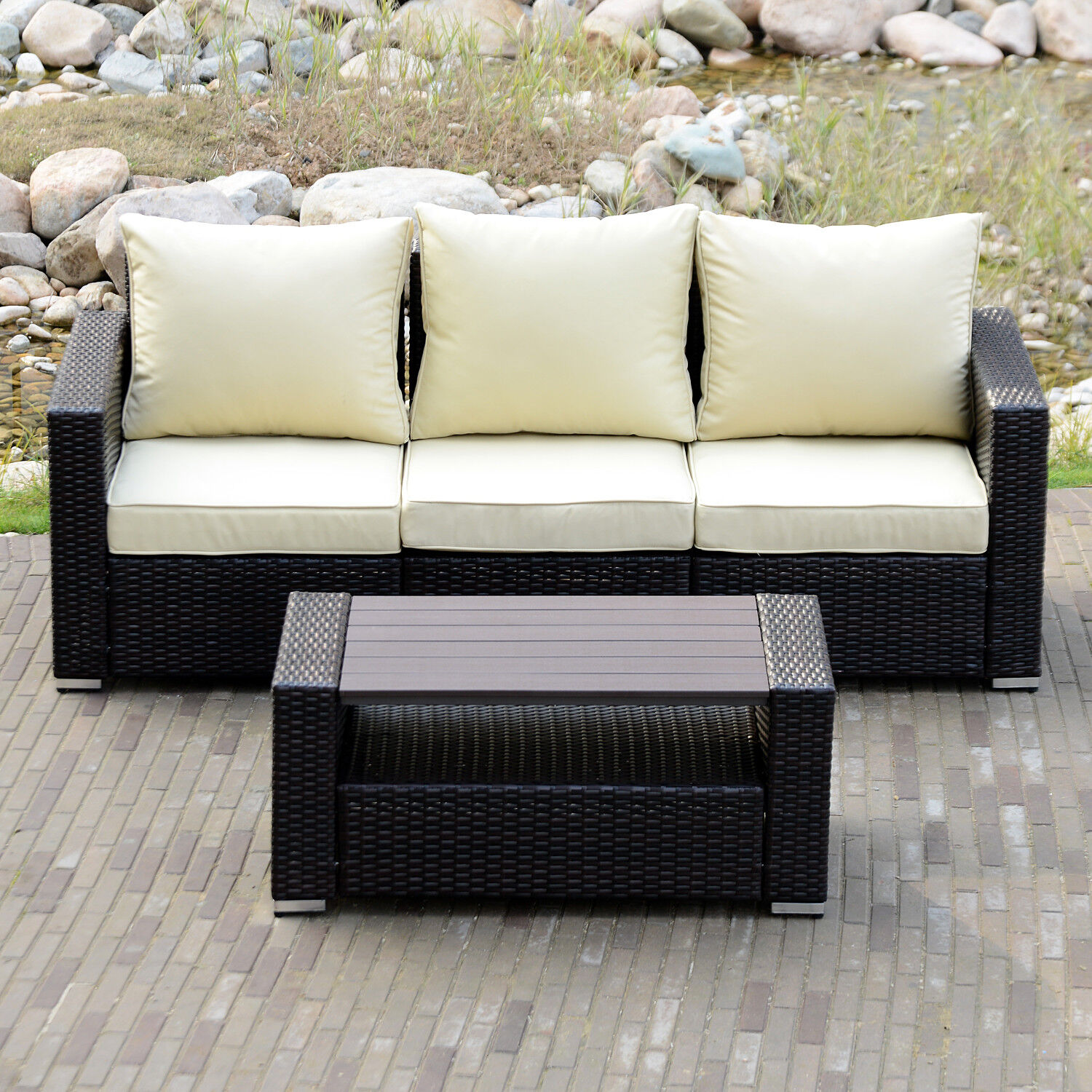 Garden Furniture - Sectional Outdoor Patio Wicker Rattan Sofa Sets PE Deck Couch Garden Furniture
