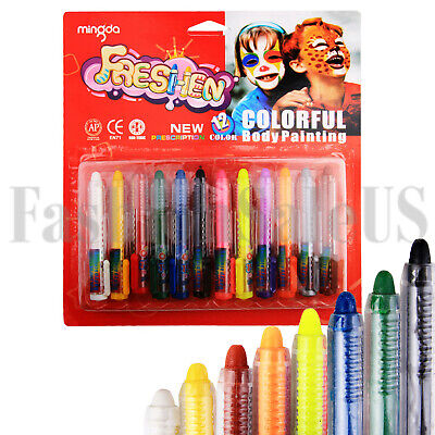 Good Halloween Face Paint (12 Color Face Paint Safe & Non-Toxic Face and Body Crayons Washable)