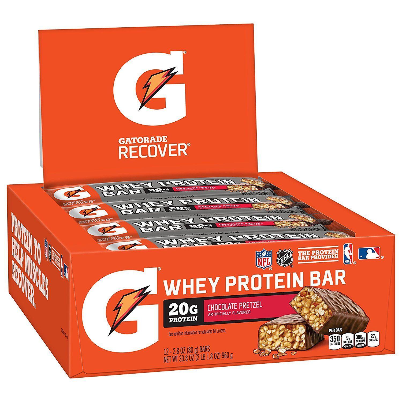 Gatorade Whey Protein Recover Bars, Chocolate Pretzel, 12 Co