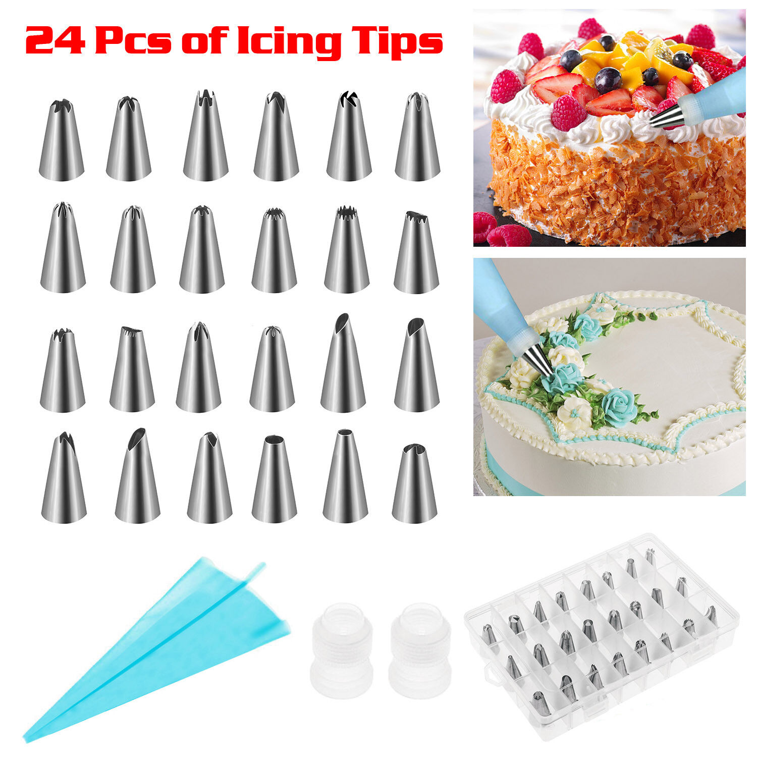Details about Decoration Cake Kit Set Tools Bags Russian Piping Tips Pastry  Icing Bags