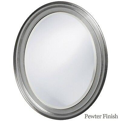 Oval Framed Bathroom Mirror – Perfect For Vanity Wall, Antique Pewter Home & Garden