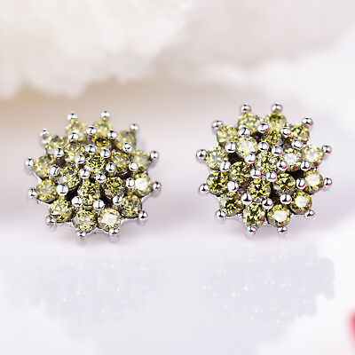 Hydrangea Stud Olive Green Crystal Silver Gold Filled Women Banquet Earrings BOX Green Stud Earring Box