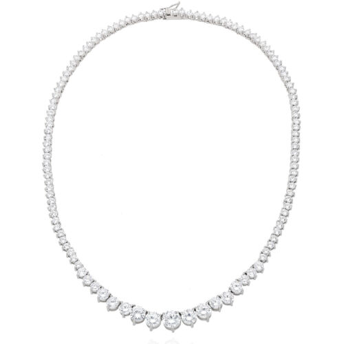 52Ct. Created Diamond White Gold Over Silver Graduated Tennis Necklace 16