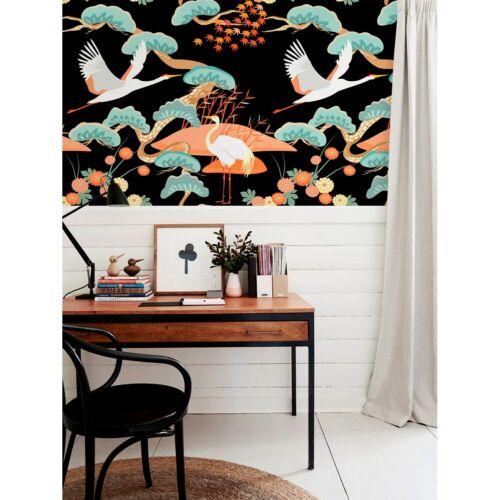 Ablösbar Fototapete Chinoserie Kranich Vögel und Bäume Muster Wandkunst