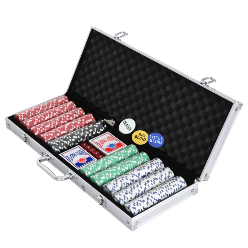 500PCS Chips Poker Dice Chip Set Texas Blackjack Cards Game w/ Aluminum Case