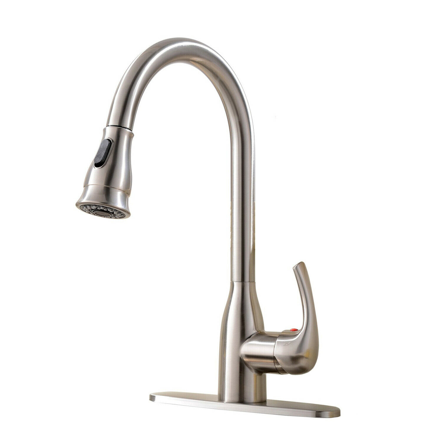 Brushed Nickel Kitchen Faucet Sink Swivel Mixer Tap with Cover Plate Deck Mount