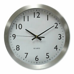 Universal Brushed Steel Finish Wall Clock 12 Silver Battery Operated 10425