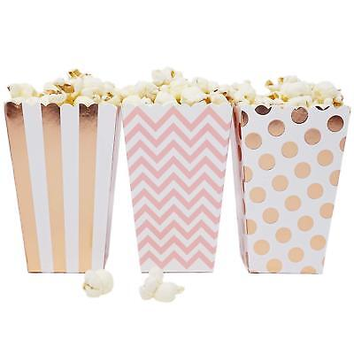 Party Favor Popcorn Boxes (36 Pink Rose Gold Dot Stripe Chevron Mini Popcorn Boxes Candy Party Favor)