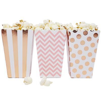36 Pink Rose Gold Dot Stripe Chevron Mini Popcorn Boxes Candy Party Favor - Mini Popcorn
