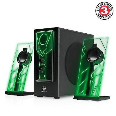 GOgroove BassPULSE Computer Speaker System with Green LED Glow Lights