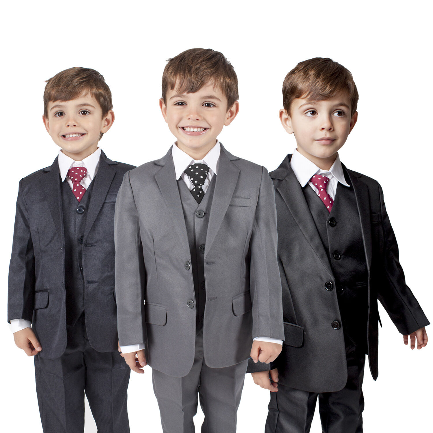 Boys Suits Boys Grey Suit 5 Piece Wedding Party Formal Outfit Prom Romario
