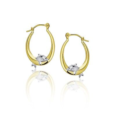 Polished Shiny Jumping Dolphin Round Hoop Earrings Real 14K Yellow & White Gold  14k Gold Dolphin Hoop Earrings