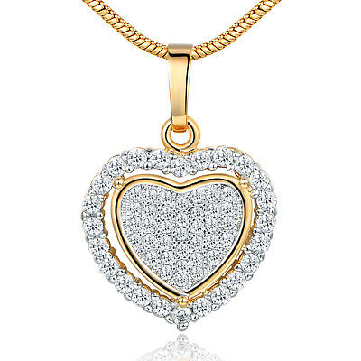 Crystal Filled Heart (Love Heart Pave Crystal Zirconia Yellow Gold Filled Women Pendant Necklace)