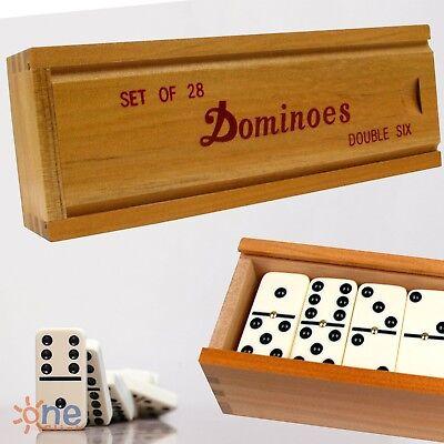 Wooden Dominoes - Double Six 6 Professional Dominoes Game Set 28 Piece Domino Tiles in Wooden Case