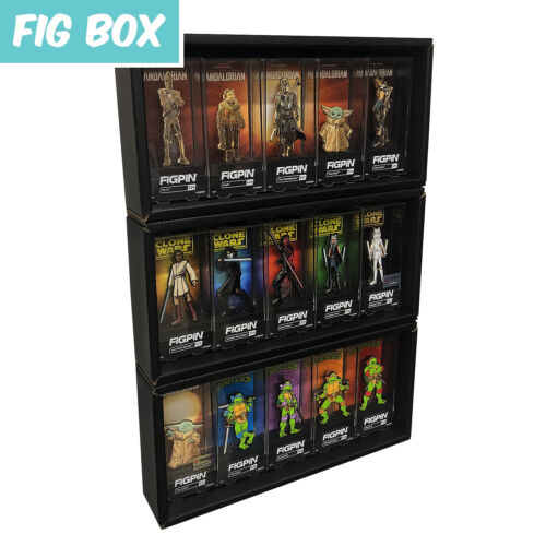 FIG BOX 3 Single Row Display Cases for FiGPiN, Black Cardboard