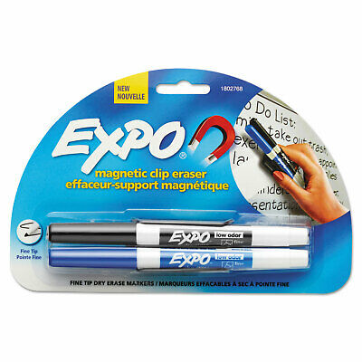 Expo Magnetic Clip Eraser W2 Markers Fine Blackblue 1 Set 1802768