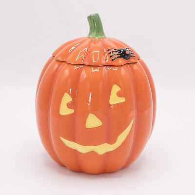"""7"""" Hallmark Ceramic Jack O Lantern Pumpkin Cookie Jar Candy Dish Spider"""