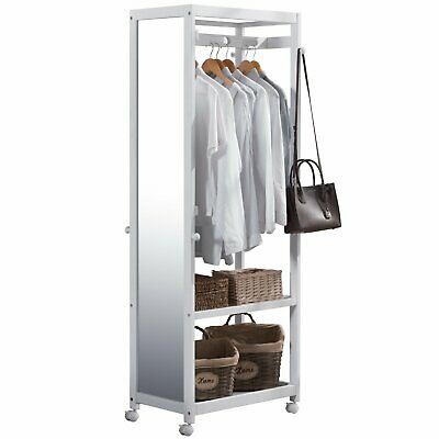 Armoire Wooden Closet Wardrobe with Full Length Mirror, 67'' Tall, Ivory White ()