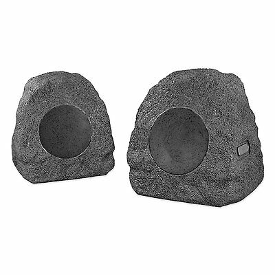 Innovative Technology ITSBO-358P Bluetooth Outdoor Rock Speaker Pair, Charcoal
