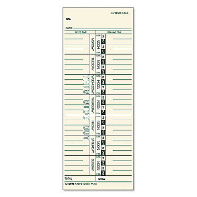 Tops Time Card For Acroprintibmlathemsimplex Weekly 3 12 X 9 500box 1259