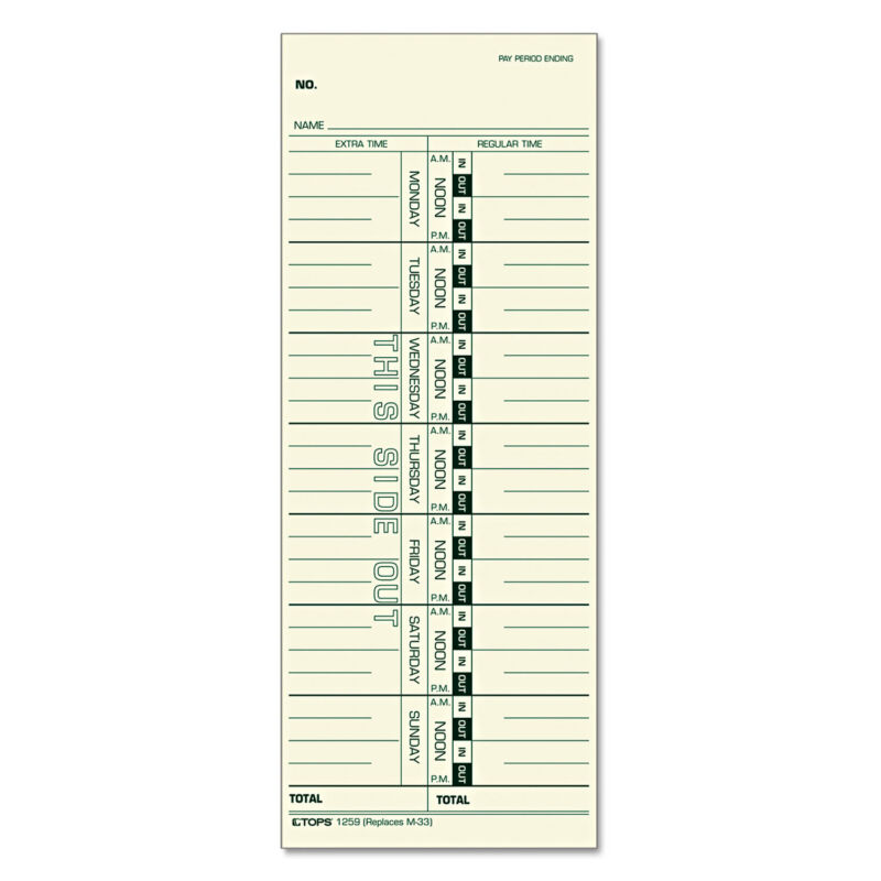 TOPS Time Card for Acroprint/IBM/Lathem/Simplex Weekly 3 1/2 x 9 500/Box 1259
