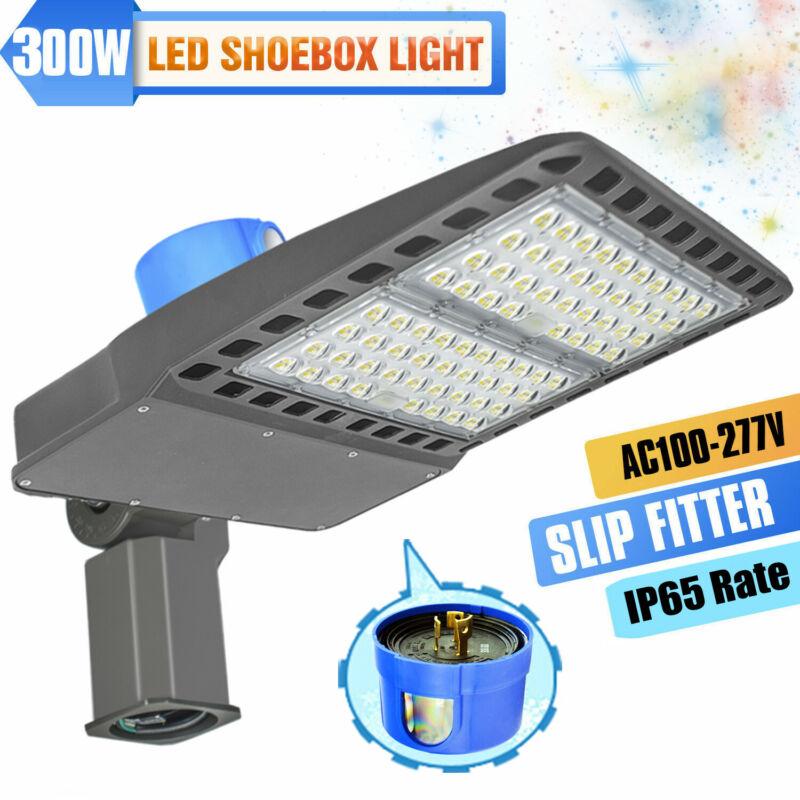 300w LED Parking Lot Light Shoebox Street Area Dusk to Dawn Commercial Lighting