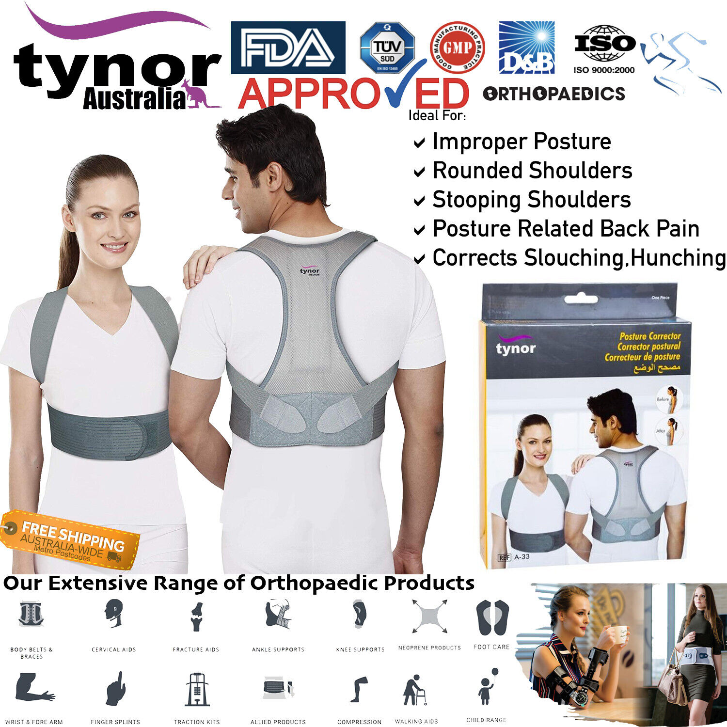 premium posture corrector for back slouching hunching