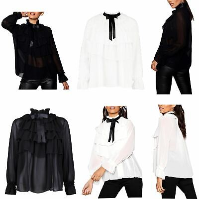 Chiffon Frill Sleeve Top (Womens Casual Long Sleeve Frill Collar Bow Tie Solid Chiffon T-Shirt Top Blouses)