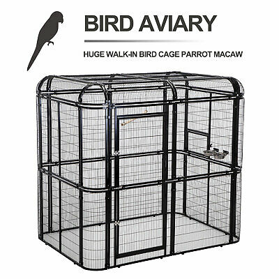 Walk In Bird Aviary Flight Cage Large Iron Wire Parrot Cockatiel Macaw Finch ()