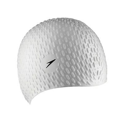 Speedo Silicone Textured Bubble Swimming Swim Cap, White, UV Protection Flexible