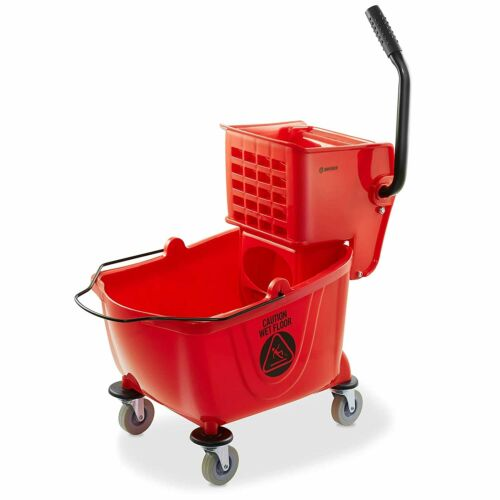 NEW - Dryser Commercial Mop Bucket with Side Press Wringer, 26 Quart, Red