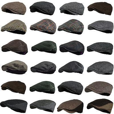 Classic Wool Ivy Cap - Classic Wool Tweed Plaid Ivy Herringbone Stylist Cap Hat Flat Cabbie Newsboy NEW