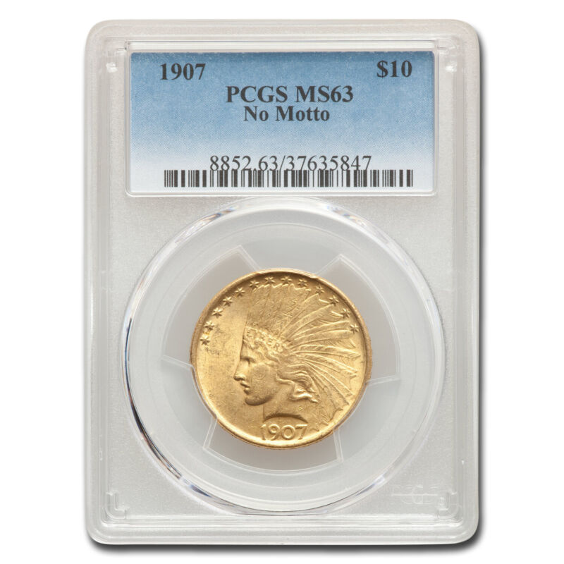 1907 $10 Indian Gold Eagle No Motto MS-63 PCGS - SKU#33380
