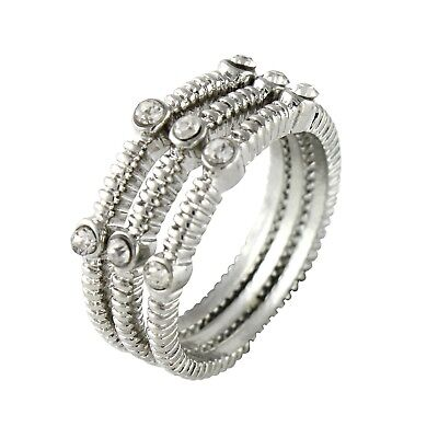 NEW Textured Silvertone Three Ring Stack Set Topped in Petite Clear (Top Stackable)