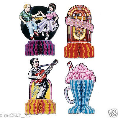 4 Fabulous 1950s Sock Hop GREASE Party MINI Decorations Rock N Roll Playmates (1950 Party Decorations)