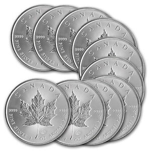 2014 1 oz Silver Canadian Maple Leaf Coin - Lot of 10 - SKU #79749
